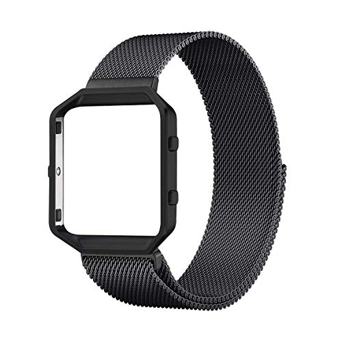 Compatible with Fitbit Blaze Bands, Small and Large Stainless Steel Replacement Adjustable Band with Metal Frame for Fit bit Blaze Women Men, Black Large