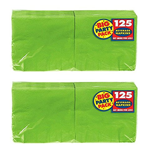 Nonsense Value Pack - Amscan Big Party Pack 125 Count Beverage Napkins Value 2-Pack (250 total count), Kiwi Green