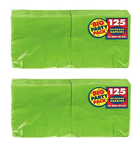 Amscan Big Party Pack 125 Count Beverage Napkins Value 2-Pack (250 total count), Kiwi (Kiwi Beverage Napkins)