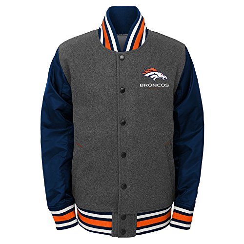 Outerstuff NFL Big Boys' Letterman Varsity Jacket, Charcoal Grey, Youth Medium (10-12)