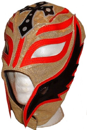 WWE Licensed Rey Mysterio Youths Kid Size Gold/Red Leather Pro Grade Mask by Main Street 24/7