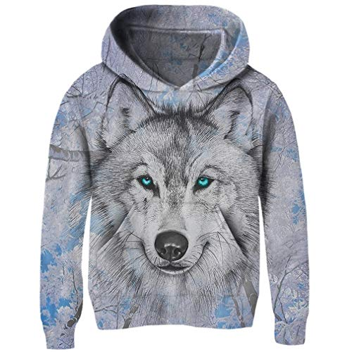 Uideazone Juniors 3D Wolf Printed Hoodies Personalized Fleece Hooded Sweater Sweatshirt ()