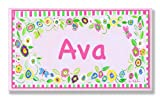 The Kids Room by Stupell Ava, Pink and Green Border with Flowers Personalized Rectangle Wall Plaque