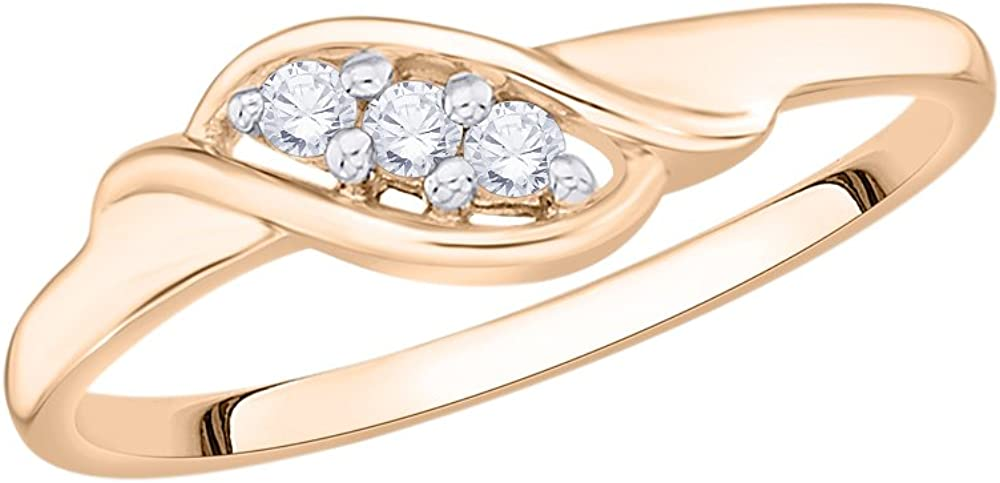 Size-12.75 1//10 cttw, G-H,I2-I3 3 Diamond Promise Ring in 10K Pink Gold