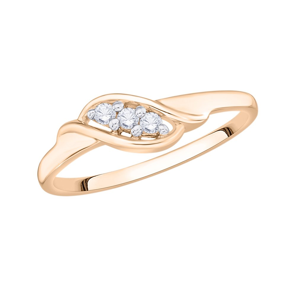 G-H,I2-I3 Size-6.75 3 Diamond Promise Ring in 10K Pink Gold 1//10 cttw,