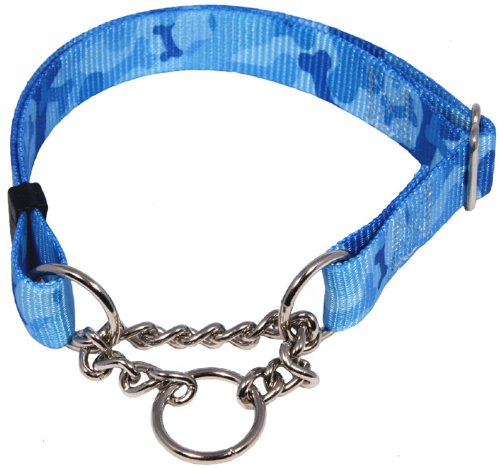 Country Brook Design Blue Bone Camo Half Check Dog Collar - Large