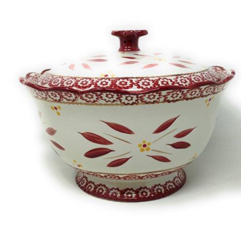 Pedestal Casserole - Temp-tations 3qt Bowl with Stoneware Lid, Scallop & Flange (Old World Cranberry)
