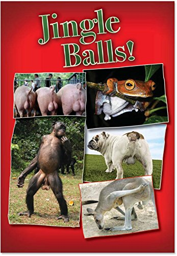 1387 'Jingle Balls' - Funny Merry Christmas Greeting Card with 5
