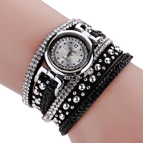 Malltop Vintage Bling Crystal Braided Winding Wrap Chain Bracelet Dial Quartz Wrist (Braided Womens Watch)