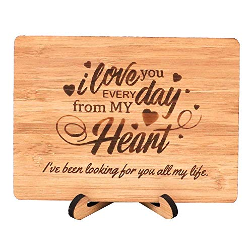 Zuaart Love Greeting Card Handmade With Real Bamboo Wood and Stand - Love every day from My heart - Woman's Day, Anniversary, Gift for Him or Her, Husband or Wife, girlfriend or boyfriend, Fiancee