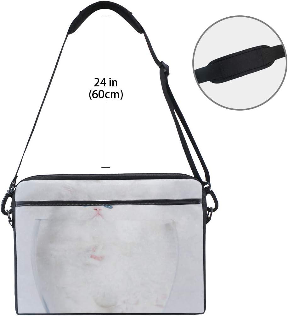 Laptop Bag White Cat 15-15.4 Inch Laptop Case College Students Business People Office Workers Briefcase Messenger Shoulder Bag for Men Women