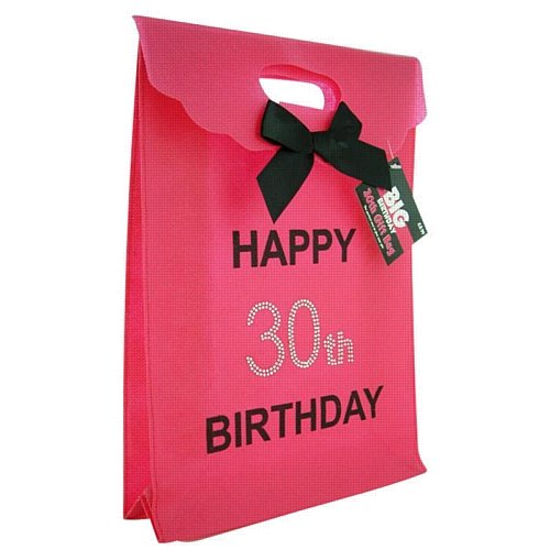 30th Big Birthday Happy Hot Pink Gift Bag With Diamantes Amazoncouk Kitchen Home