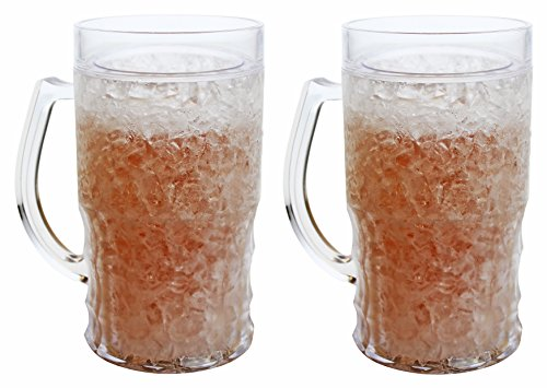 (Double Wall Gel Frosty Freezer Mugs Large 22oz, Set of Two, Clear)