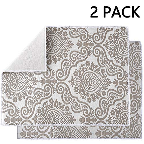 Subekyu Dish Drying Mats for Kitchen, Ultra Absorbent Microfiber Drying Mat, Dishes Drainer Pad 2 Pack, 19 by 15 Inch (Floral Vine)
