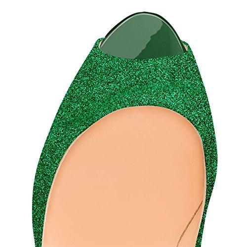 Piattaforma Più Onlymaker Toe Alti Pompe Tacchi Da Verde Scarpe Donne Vestito Scivolare I Partito Per Formato Della Le Su Con Peep Tacchi 5nwRzRBq0