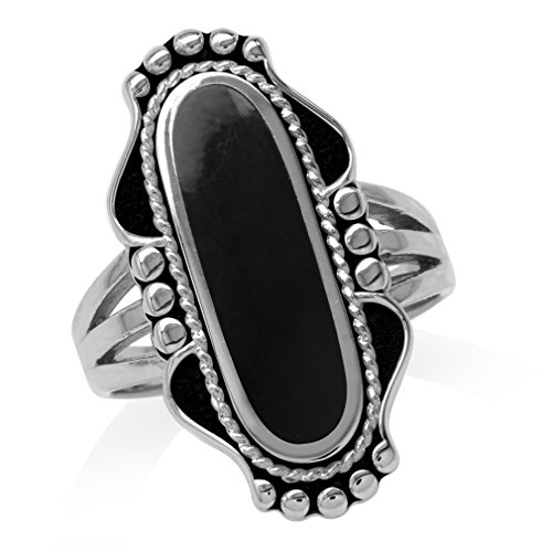 Long Created Black Onyx Inlay 925 Sterling Silver Baroque Inspired Ring Size 9
