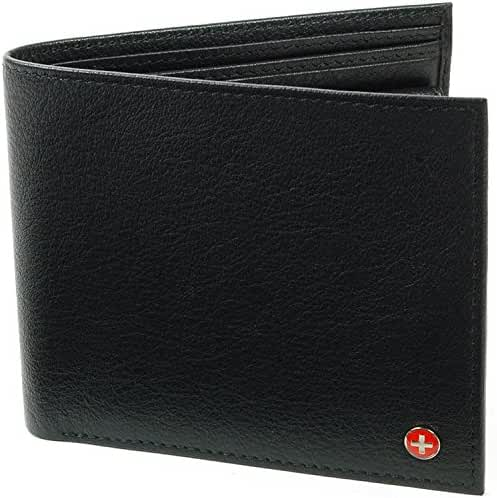 Alpine Swiss European Leather Wallet Oversized to Fit Euro & Pounds Passcase 2-in-1 Removable ID Card Case