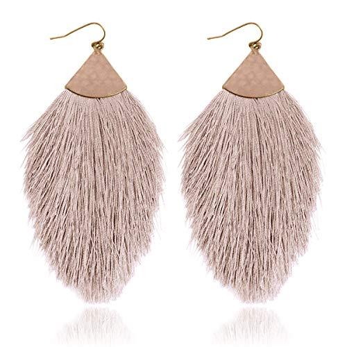 Antique Bohemian Silky Thread Fan Tassel Statement Drop - Vintage Gold Feather Shape Strand Fringe Lightweight Hook/Acetate Dangles Earrings/Long Chain Necklace (Earrings Feather Fringe - Light - Fringe Earrings Necklace