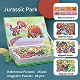 Meryi Jurassic Park 46 pcs Magnetic Jigsaw Puzzle Boys and Girls Games Play Set with Storage Case Early Educational Toys
