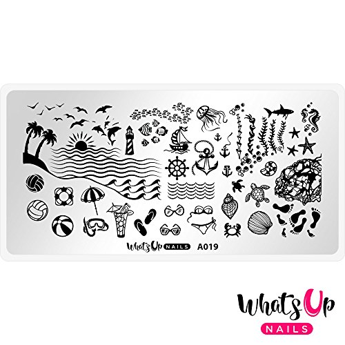 Whats Up Nails – A019 Beach Mode Stamping Plate For Stamped Nail Art - What Sunglasses