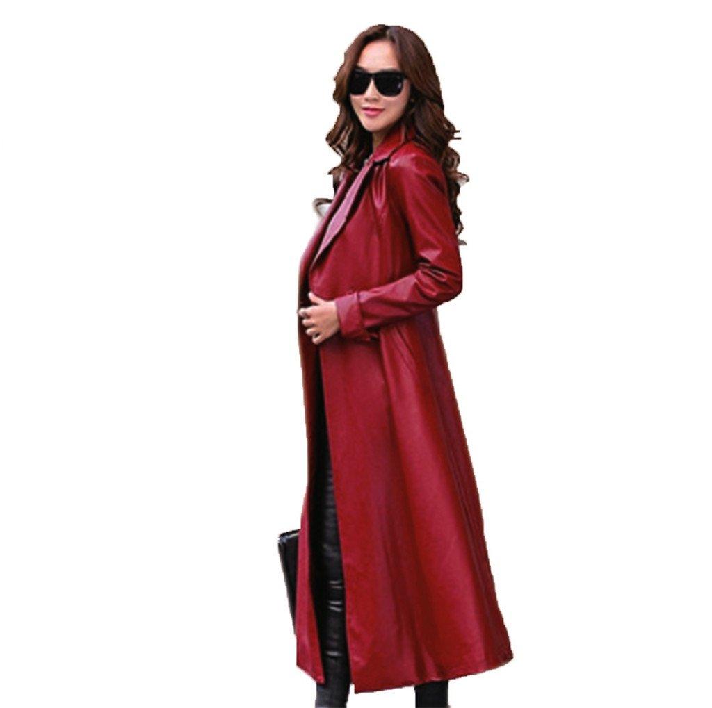 秋と冬の女性のウインドブレーカーの革ジャケットプラスベルベット厚い暖かいヨーロッパとアメリカの女性のロングセクションのPUレザー新しい B07FQGY8P4 L|レッド レッド L