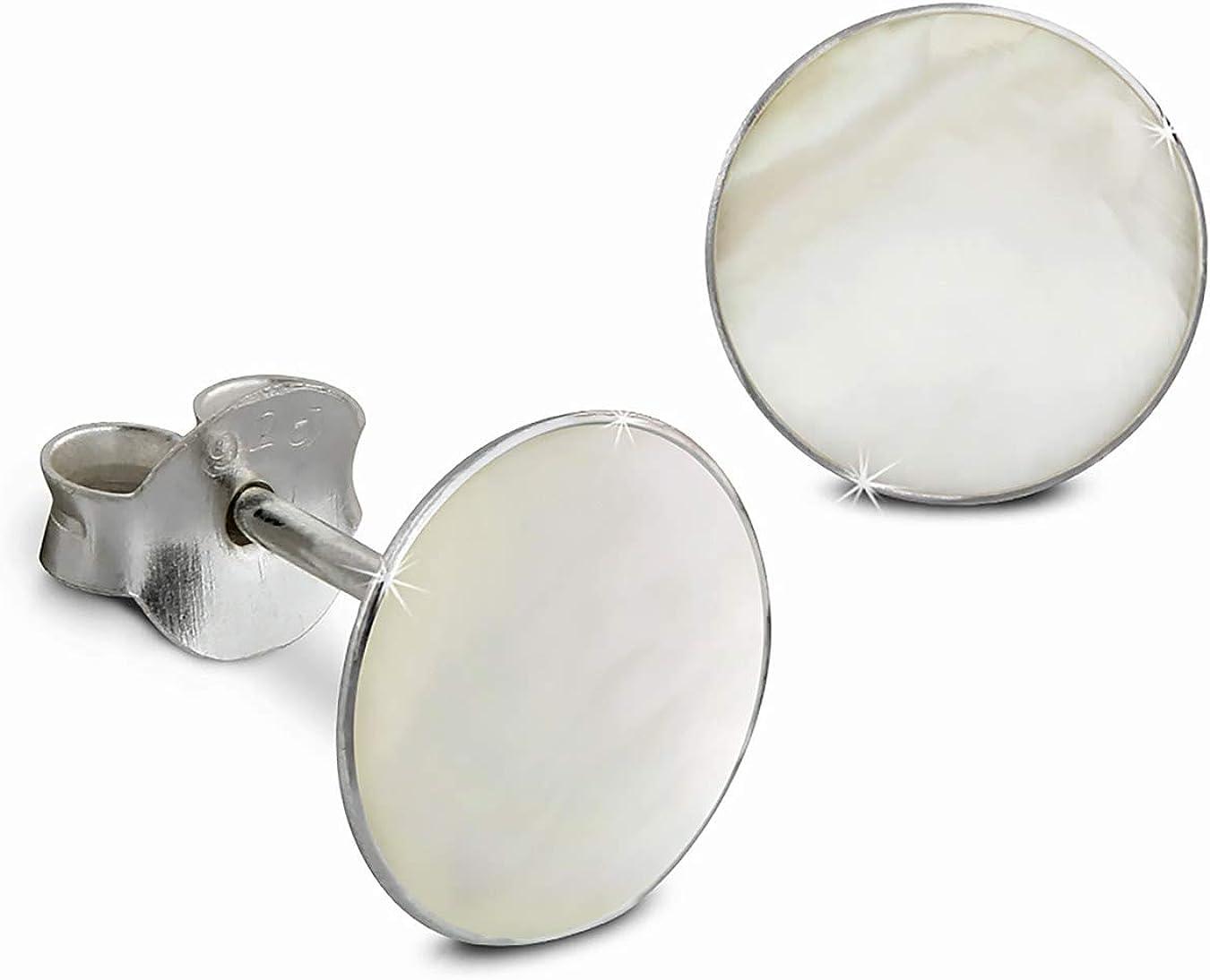 SilberDream SDO8500W - Pendientes de tuerca para mujer (plata 925, 8 mm), color blanco