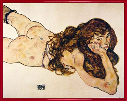 Egon Schiele Poster Art Print and Frame (Plastic) - Female Nude Lying On Her Stomach, 1917 (20 x 16 inches)