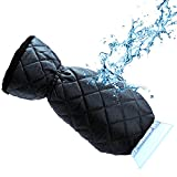 Automotive : Ice Scraper Mitt For Car Windshield Snow Scrapers with Waterproof Glove Lined of Thick Fleece + Carry Pouch (Black)