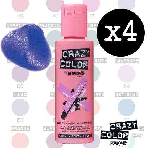 Crazy Colour Semi Permanent Haarfärbemittel Lavender No.54 (100ml) Box of 4