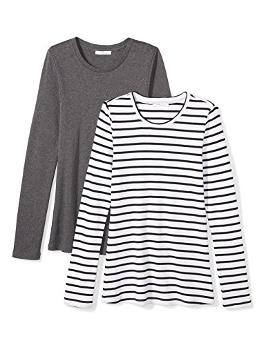 (Amazon Brand - Daily Ritual Women's Midweight 100% Supima Cotton Rib Knit Long-Sleeve Crew Neck T-Shirt, 2-Pack, Charcoal Heather Grey/Navy-White Stripe, Medium)