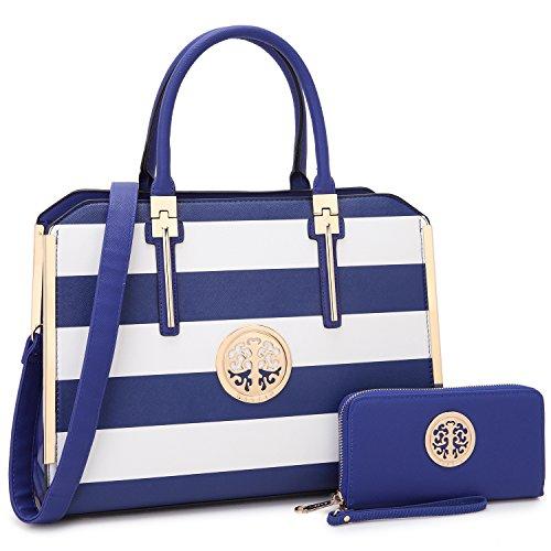 "Women Large Designer Handbags Satchel Purses Structured Briefcase Shoulder Bags Work Bags for 13"" Laptop Tablet (4-Blue/White new)"