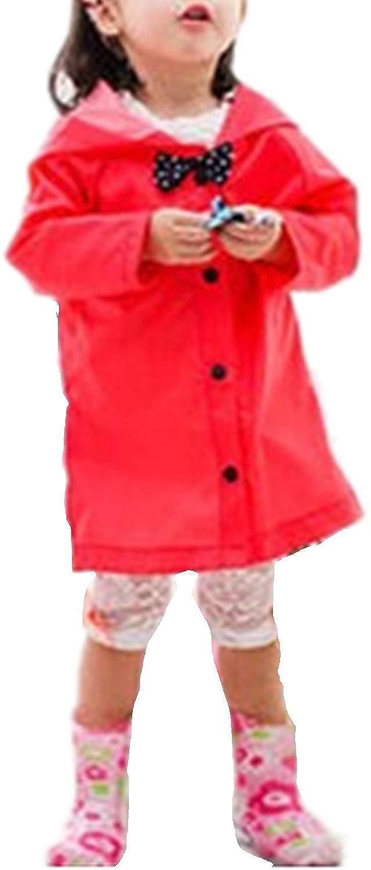 Yellow Raincoat for Girls Toddler Kids Rain Poncho Hooded Button Down Long Jacket Bow Rainwear Lightweight