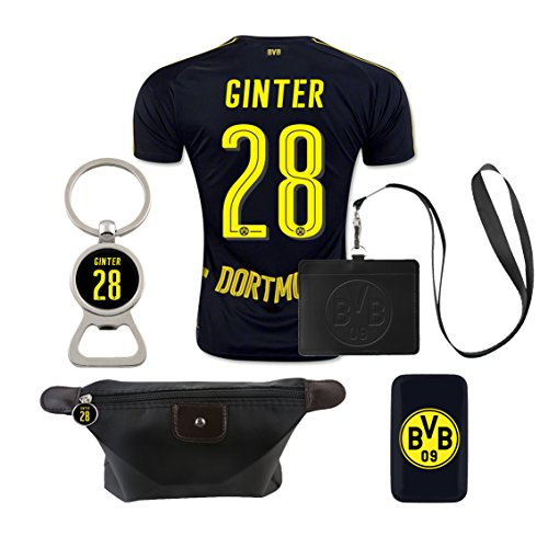 #28 Ginter (6 in 1 Combo) Dortmund Away Match Adult Soccer Jersey 2016-17