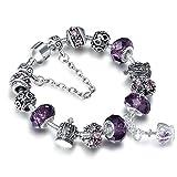 """A TE® Bracelet Charms Femme """"Rempli d'Amour"""" Verre Violet Cadeau #JW-B70"""