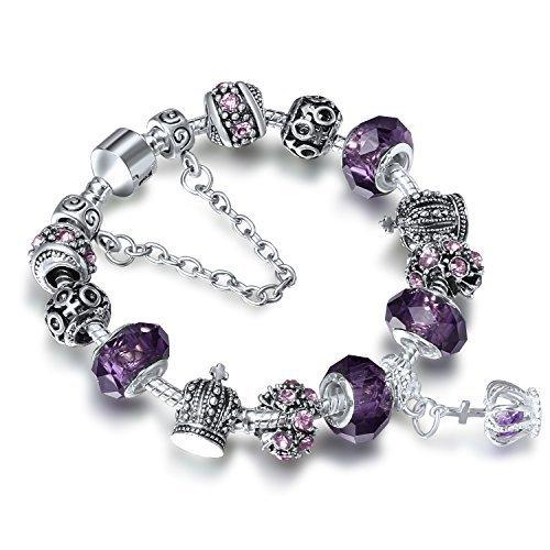 A-TE-Bracelet-Charms-Femme-Verre-Violet-Couronne-Impriale-Cadeau-JW-B70
