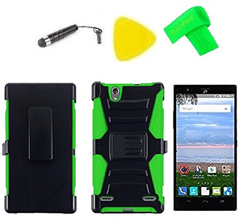 Belt Clip Holster Cover Case Cell Phone + LCD Screen Protector Guard + Extreme Band + Stylus Pen + Pry Tool For Straight Talk Tracfone NET10 ZTE Lever LTE Z936L / Z936C (Belt Clip Holster Black/Green)