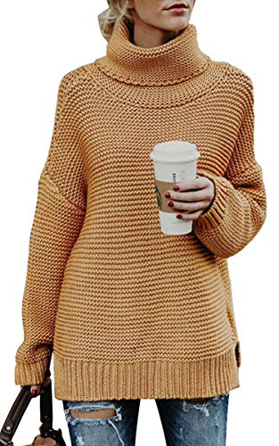 Angashion Womens Casual Long Sleeve Turtleneck Cable Knit Oversized Pullover Sweater Tops