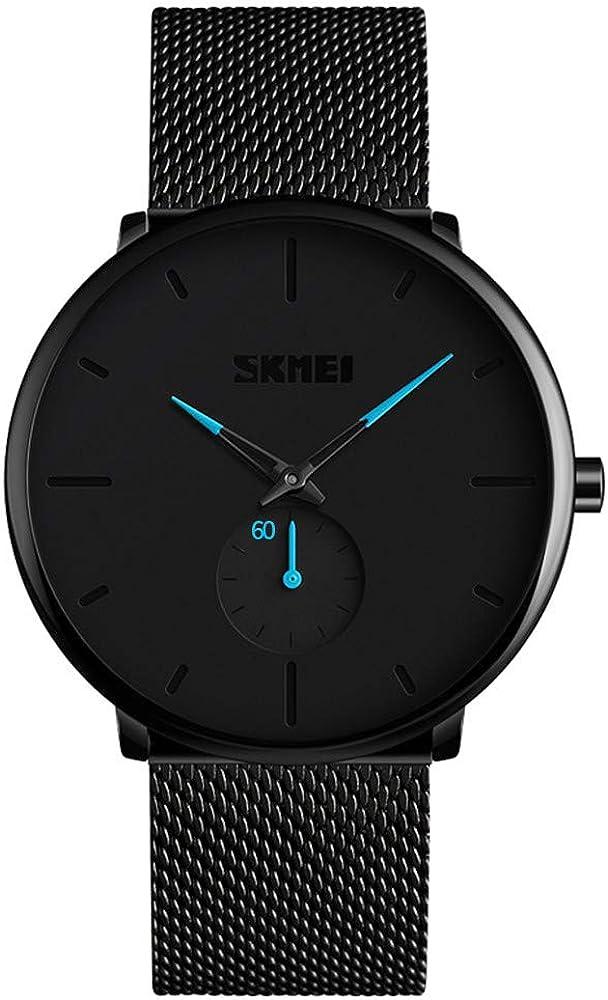Relojes Hombre, KOTIME De Moda Casual Hombre Relojes De Malla Ultra Fino Negro para Hombres Relojes Deportivo Reloj Hombre de Cuarzo Impermeable