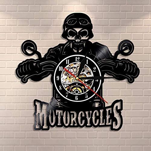 TIANZly Crâne dans Le Casque Racer Motos Horloge Murale Racer Skull Biker Disque Vinyle Horloge Murale Halloween Home…