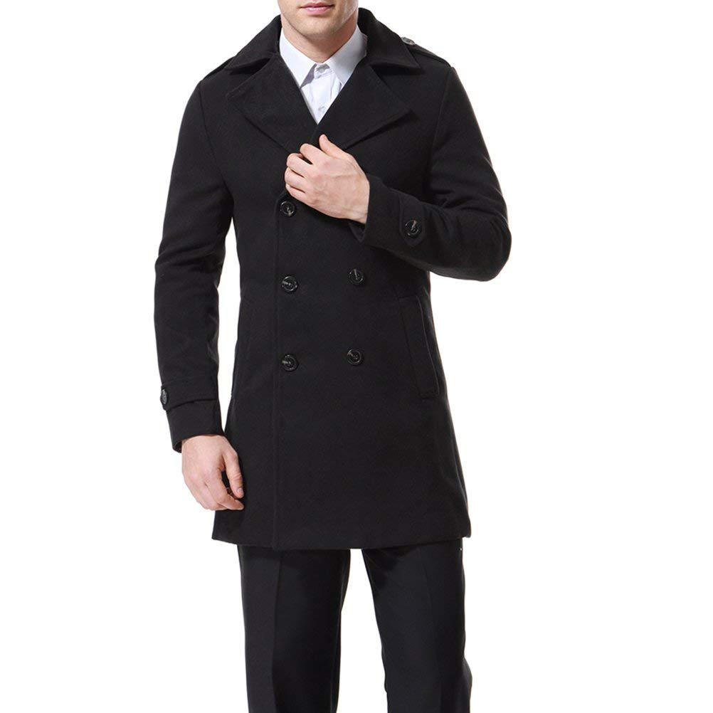 Men's Trenchcoat Double Breasted Overcoat Pea Coat Classic Wool Blend Slim Fit,Black,Medium by AOWOFS