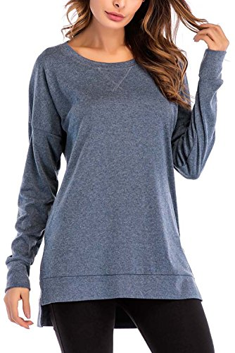 8sanlione Womens Long Sleeve Casual Crew Neck Pullover Loose Sweatshirt Tunic Tops T-Shirt(X-Large/US 16-18,Blue)