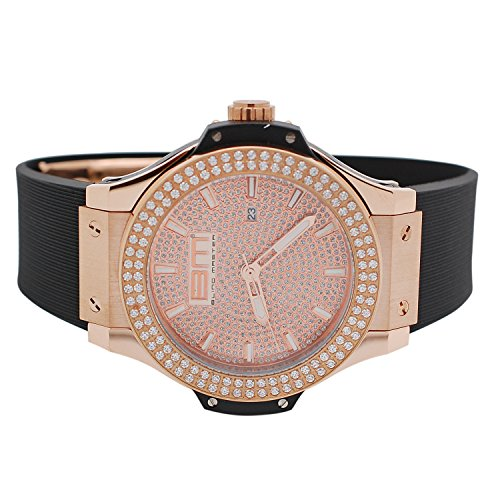 Mens Rose Gold-Tone Lab Diamond Stainless Steel 2 Row Jojino Jojo Watch with Black Rubber Band
