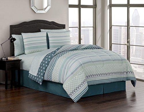 Avondale Manor Avalon 8-Piece Comforter Set, Blue, Queen - Avalon Bedroom Bedroom Set