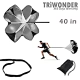 Triwonder 40 or 56 inch Speed Training Resistance Parachute Running Chute Power (Black - 40in)