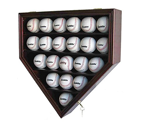 Collectibles Plates Collector - Solid Wood 21 Baseball Display Case Cabinet Holder, w/UV Protection, Lockable B21 (Cherry)