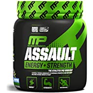 MusclePharm Assault Sport Pre-Workout Powder with High Dose Energy, Focus, Strength and Endurance - Creatine, Taurine and Caffeine, Blue Raspberry, 30 Servings