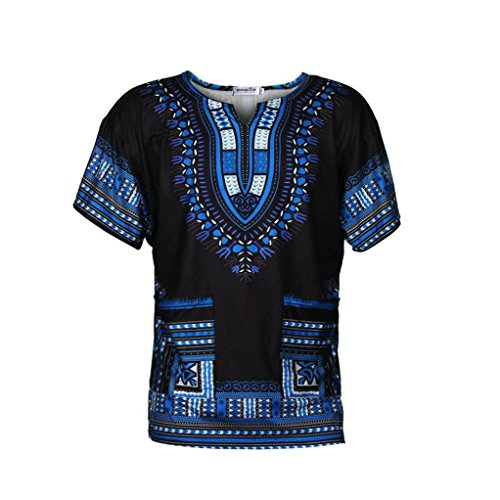 (DaySeventh Traditional Thailand Style African Print Dashiki T-Shirt Loose Blouse Tops (S, Blue))
