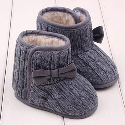 Baby Bowknot weiche Sohle Winter warme Schuhe Stiefel Krippe Schuhe Krabbelschuhe (11cm, Grau)