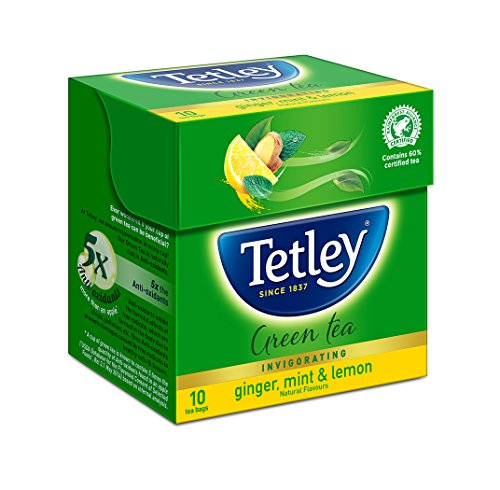 Tetley Green Tea Immune with added Vitamin C, Ginger, Mint & Lemon, 10 Tea Bags