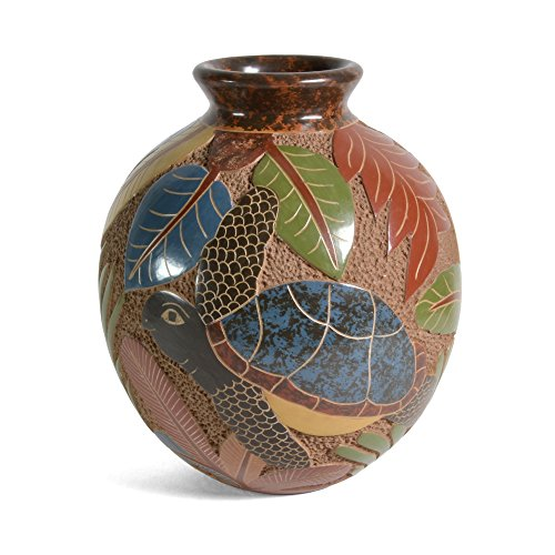 Nicaraguan Pottery 6.5-inch Carved Sea Turtle (Pottery Turtle)